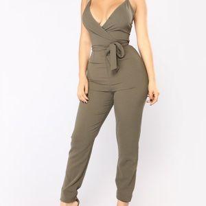 Fashion Nova Jada Jumpsuit - Olive